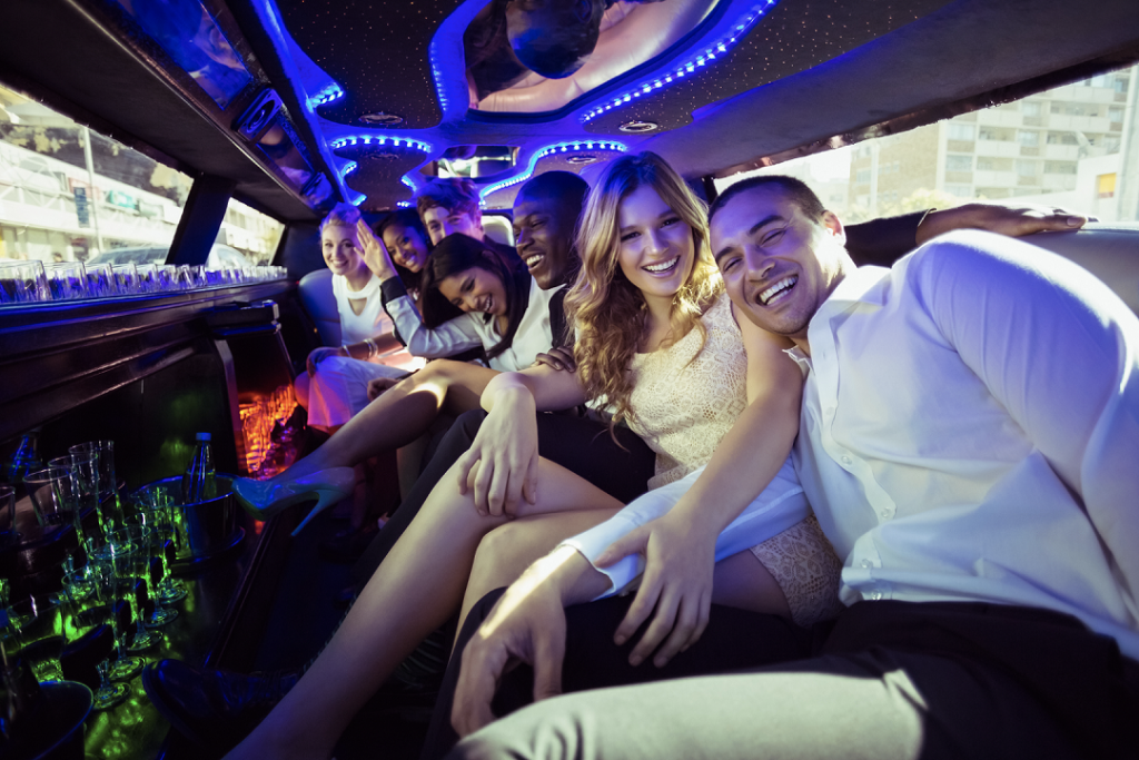Full limousine of people. MBEG Limousine Service LLC.